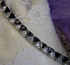 "Black & White triangle stones 0.925 Sterling Silver estate 8"" x 1/4"" Bracelet"
