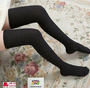 Women Girls Knitted Over Knee Long Socks Winter Warm Thigh High Retro Socks  UK