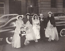 Vintage Photograph Wedding Bride, Dad, Ring Bearer & Wedding Party By Old Car