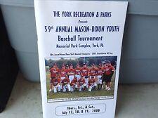 59th Annual Mason Dixon Youth Baseball Tournament Program