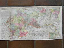 Antique map military Garrison middle Europe Europa 1915
