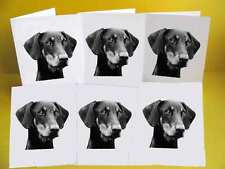 Doberman Dog Notelets Blank Cards pack of 6 with envelopes, A6