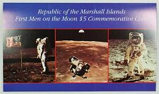 """1989 Marshall Islands $5 Coin """"First Men on the Moon"""" in Presentation Folder"""