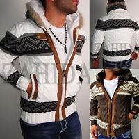 Men's Jumper Knit Fair Isle Cardigan Cardigan Hoodie New