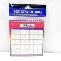 "2021 Monthly Desk Calendar Spiral Flip Stand Up Tent  6""x 6.5"" Multi Colorful"