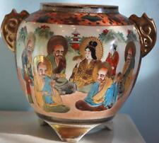 Antique 19th Century JAPANESE SATSUMA THOUSAND FACE Ceramic Vase IMMORTALS Gold