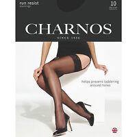 Charnos Run Resist Lace Top Stockings. Black, Natural Tan, Nude 10 Denier 1 Pair