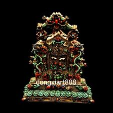 Tibet pure silver inlay coral turquoise Amitayus guanyin niche for Buddha shrine