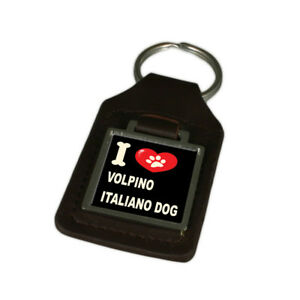 I Love My Dog Engraved Leather Keyring Volpino Italiano