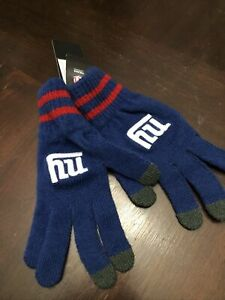 New York Giants Stretch Knit Gloves with Texting Tips NFL Royal Blue
