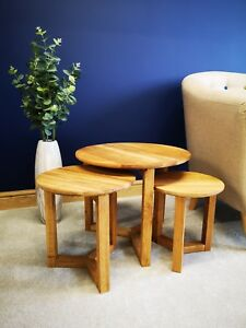 Brooklyn Oak Nest of 3 Tables - Solid Wood Circular Nested Set - Round Side End