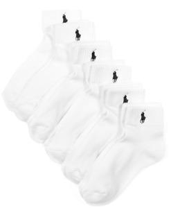 Polo Ralph Lauren Men's  Athletic Quarter Sport Socks 6-Pack