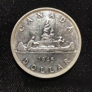 1945 $1 Silver Dollar Canada - Higher Grade Key Date Example - F1548