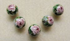 5 Japanese Tensha Beads PINK ROSE on SILVER MIRACLE ROUND Beads 12mm