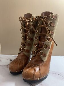 Michael Michael Kors Winter Warrior Shearling Clog Brown Boots Lace Up Sz 9.5