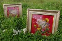 Handmade Picture Image With Beautiful Frame Stitched Finished Morning Evening