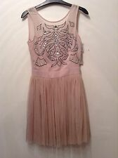 BNWT 🌺Lipsy 🌺Size 8 Embellished Skater Party Prom Dress Size RRP £70 Nude New