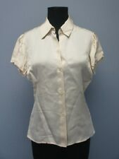 THEORY Beige Short Puff Sleeves Button Front Solid Blouse Shirt Sz M DD0716