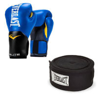 Everlast Elite Pro Boxing Gloves Size 16, Blue and 120 Inch Hand Wraps, Black