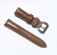 22mm Genuine Leather Thick Padded Light Brown Watch Band with 2 Spring Bars