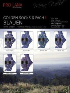 {5,97€/100g} Golden Socks BLAUEN 150g Sockenwolle 6-fädig ProLana Farbwahl