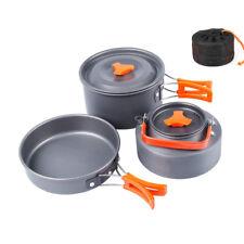 Camping Cookware Backpacking Gear Outdoor Cooking Mess Kit 3 Pieces Pot Pan Tea