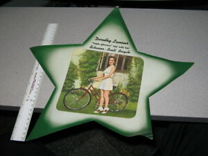 Schwinn bicycle 1940s Christmas store display sign DOROTHY LAMOUR movie poster