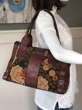 FOSSIL Vintage Reissue Satchel Handbag Purse FLORAL Velvet Velour Brown Leather