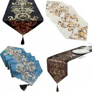 New Luxury Shiny Table Runner Velvet Damask  Tassel Tablecloth Wedding Decor
