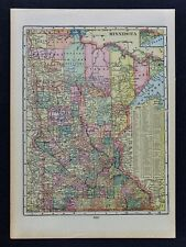 c 1899 Cram Map Minnesota Minneapoli​s St. Paul Duluth Cariton Ely Wadena Winona