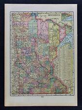c 1899 Cram Map Minnesota Minneapolis St. Paul Duluth Cariton Ely Wadena Winona
