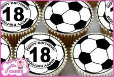 24 x 18TH HAPPY BIRTHDAY FOOTBALL EDIBLE CUPCAKE TOPPERS CAKE RICE PAPER 8510