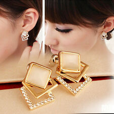 Cute Fashion Ear Stud Hollow Crystal Womens Jewelry Gold Plated Earrings Gift