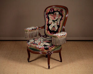 Antique French Open Armchair with Original Upholstery c.1880.