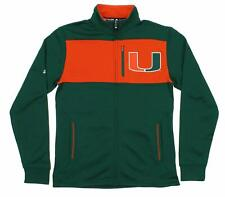 Adidas NCAA Men's Miami Hurricanes Zip Up Tip-Off Campus Jacket, Green-Orange