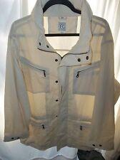 Field Gear Men's Size Large Cream Field Coat w/ Zippered hood storage NICE!