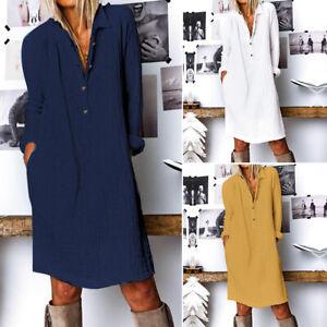 Mode Femme Bouffant Robe Simple Loose Manche Longue Boutons Droit Jupe Midi Plus