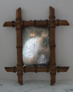 Vintage French BAMBOO TURNED WOOD WALL MIRROR GLASS FRANCE