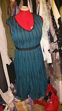 Teal with Black Stripes - Fit and Flare - Dress - M 10-12