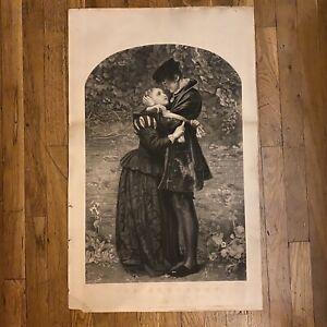 John Everett Millais - Antique 1857 etching - The Huguenot  23.5 x 33.5 inches