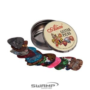 Set of 20x Alice Guitar Picks - Variety Pack - Celluloid - Round Tin