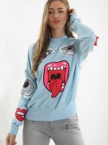 New Women's Cartoon Cut Out Monster Printed Crew Neck Sweatshirt Jumper Top