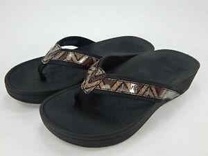 Vionic Platform Leather Thong Sandals - High Tide Chevron Black US 8 Wide NIB
