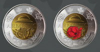 Canada $2 Coins Set of 2 Coloured and Plain Armistice 100 Years Remembrance Day