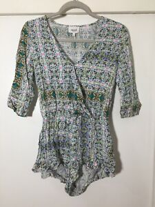 Seed Heritage Womens Playsuit Size 6 Boho Patterned Viscose Good Condition