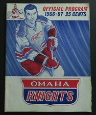 1966-67 Omaha Knights vs Houston Appolos' Hockey Program Savard Quinn Lemaire