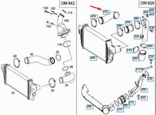 MERCEDES-BENZ GL-CLASS X164 Intercooler Hose A1645281882 New Gennuine