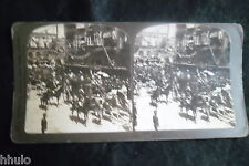 STA769 Espagne Cérémonie Roi Reine retour Palais albumen Photo stereoview 1900