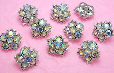 "10 Sparkling 1/2"" AB Rainbow Glass Rhinestone Sewing Buttons N134"