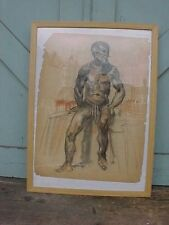 ANTIQUE CHARCOAL DRAWING  Male SEMI NUDE Study  PAPER FRAGMENT / REFRAMED